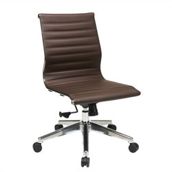 Office Star Armless Mid Back Eco Leather Office Chair in Chocolate