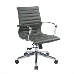 Office Star Mid Back Eco Leather Office Chair in Grey