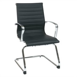 Office Star Eco Leather Visitors Guest Chair in Black