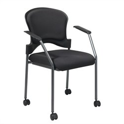 Office Star Rolling Guest Chair with Arms and Casters in Black