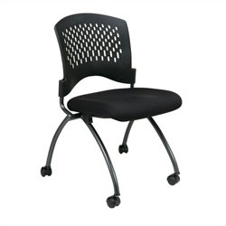 Office Star Set of 2 Armless Folding Chair in Coal