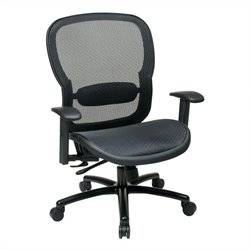 Office Star 839 Series Office Chair with Adjustment Lumbar Support in Black