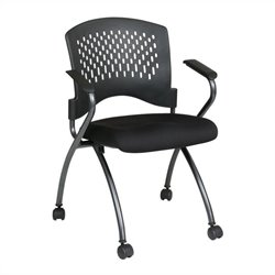 Office Star Set of 2 Folding Chair with Arms in Coal