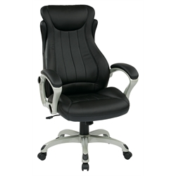 Office Star ECH Series Eco Leather Office Chair in Black and Silver