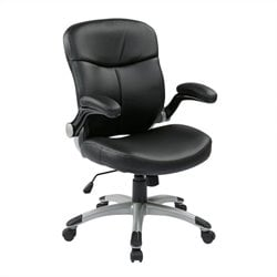 Office Star ECH Series Mid Back Eco Leather Office Chair in Black