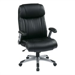 Office Star ECH Series Eco Leather Office Chair in Silver and Black