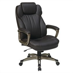 Office Star ECH Series Eco Leather Office Chair with Arms in Espresso