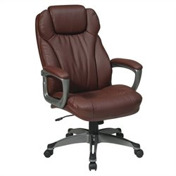 Office Star ECH Series Eco Leather Office Chair with Padded Arms in Wine