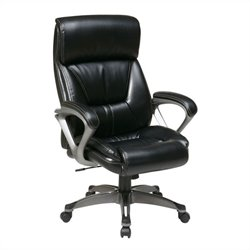 Office Star ECH Series Eco Leather Office Chair with Padded Arms in Black