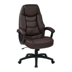 Office Star FL Series Executive Faux Leather Office Chair in Burgundy