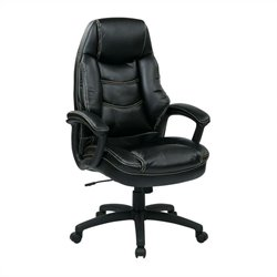 Office Star FL Series Executive Faux Leather Office Chair in Black