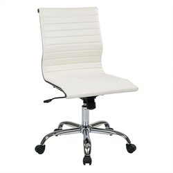 Office Star FL Series Thick Padded Faux Leather Office Chair in White