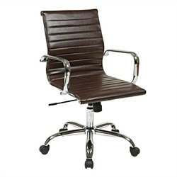 Office Star FL Series Thick Padded Faux Leather Office Chair in Espresso