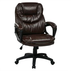 Office Star FL Series Faux Leather Managers Office Chair in Chocolate