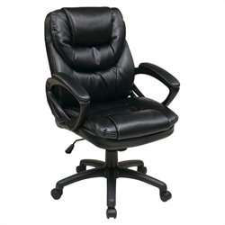 Office Star FL Series Faux Leather Managers Office Chair in Black