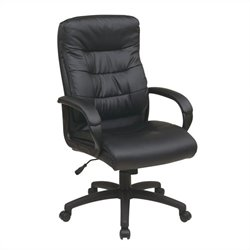 Office Star FL Series High Back Faux Leather Executive Office Chair in Black
