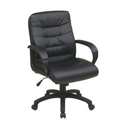 Office Star FL Series Mid Back Faux Leather Executive Office Chair in Black