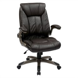 Office Star FL Series Faux Leather Mid Back Managers Office Chair in Cocoa