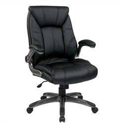 Office Star FL Series Faux Leather Mid Back Managers Office Chair in Black