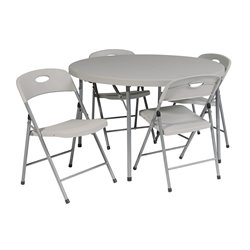 Office Star 5 Piece Folding Set in White