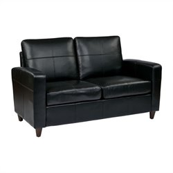 Office Star Eco Leather Loveseat in Black