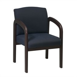Office Star WD Visitors Chair in Espresso and Midnight Blue