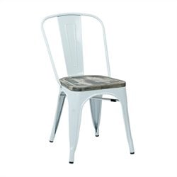 Office Star Bristow Vintage Metal Dining Chair in White and Ash (Set of 4)