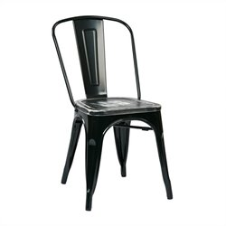 Office Star Bristow Metal Chair in Black and Cameron Ash (Set of 2)
