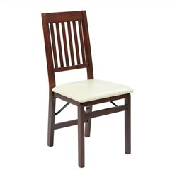 Office Star Hacienda Set of 2 Folding Chair in Cream and Espresso