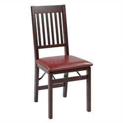 Office Star Hacienda Set of 2 Folding Chair in Espresso and Red