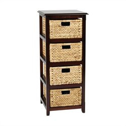 Office Star Seabrook Four Tier Storage Unit in Espresso
