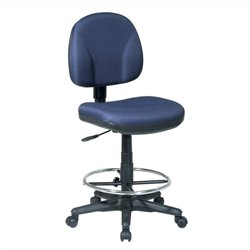 Office Star DC Series Drafting Chair with Stool Kit in Navy
