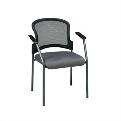 Office Star ProGrid Contour Back Guest Chair with Arms in Carbon