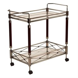 Office Star Melrose Serving Cart in Brass Metal