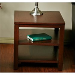 Office Star Work Smart Square End Table in Mahogany