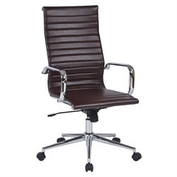 Office Star Work Smart Hi Back Faux Leather Office Chair in Chocolate