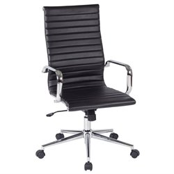 Office Star Work Smart High Back Faux Leather Office Chair in Black