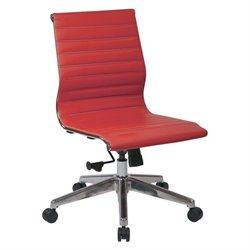 Office Star OSP Furniture Armless Faux Leather Office Chair in Red
