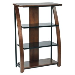 Office Star Emette 3 Shelf Bookcase With 2 Glass Shelf in Cherry
