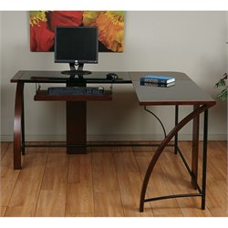 Office Star Emette L Shape Home Office Corner Desk in Cherry