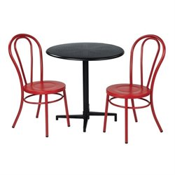 Office Star Work Smart 3 Piece Patio Dining Set in Red