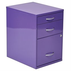 Office Star 3 Drawer Filing Cabinet in Purple