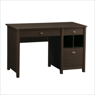 Office Star Addison Computer Desk with Single Ped in Dark Oldwood