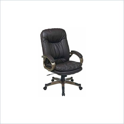 Office Star Executive Eco Leather Chair with Locking Tilt Control and Coated Base in Espresso