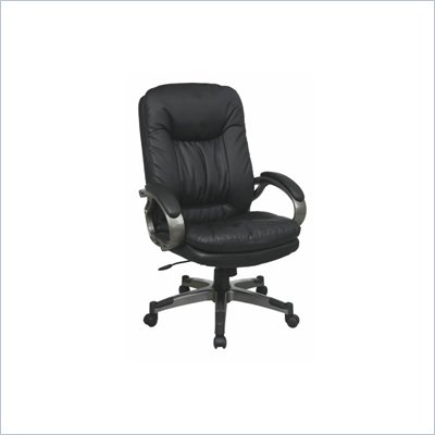 Office Star Executive Eco Leather Chair with Locking Tilt Control and Coated Base in Black