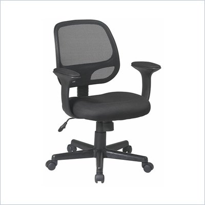 Office Star Screen Back Task Chair with &quot;T&quot; Arms and Mesh Fabric Pads