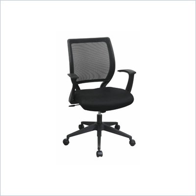 Office Star Screen Back Chair with Mesh Seat and Fixed Designer Arms