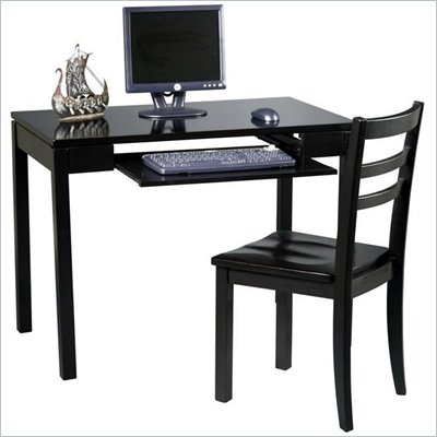 Office Star Wood Computer Desk and Chair Set in Black
