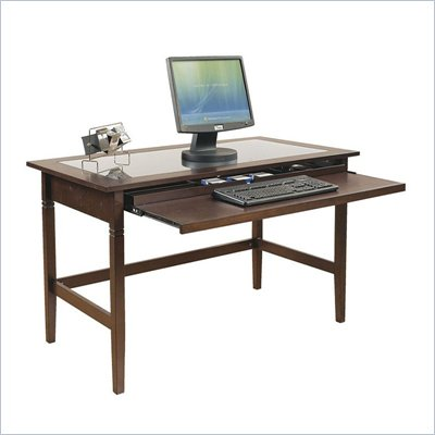 Office Star Richmond Glass Top Wood Computer Desk in Espresso