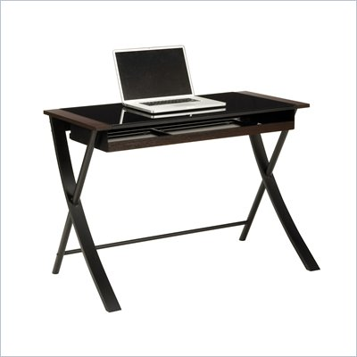 "Office Star Corvus 43"" Computer Desk in Black Finsh with Black Glass"